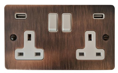 G&H FAC910W Flat Plate Antique Copper 2 Gang Double 13A Switched Plug Socket 2.1A USB